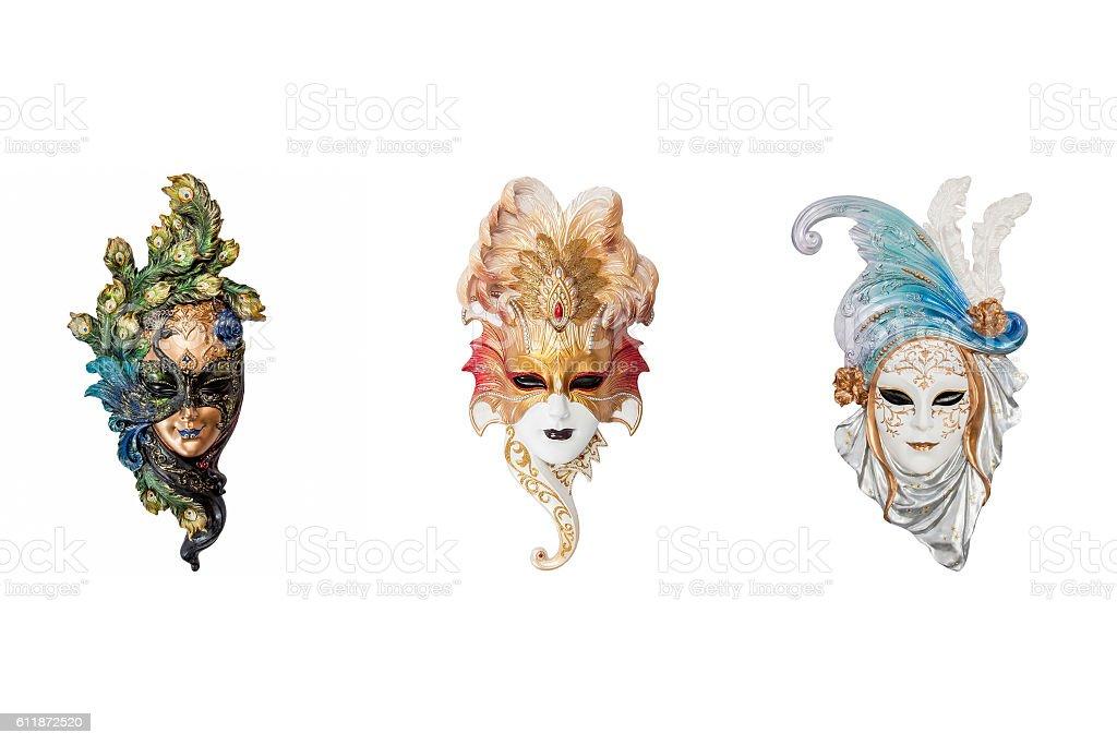 Venetian full-face masks for Venice Carnival stock photo