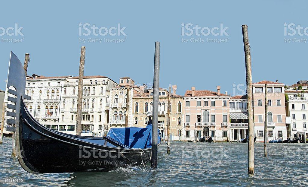 Venetian Gondola and Grand Canal royalty-free stock photo