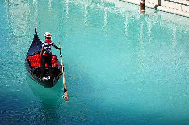 Venetian Gondola at Las Vegas Hotel Tourist Attraction stock photo