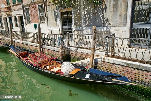 Traditional venetian boat known as gondola moored in Rio di San Provoio. Sestiere Castello. Venezia. Italy.