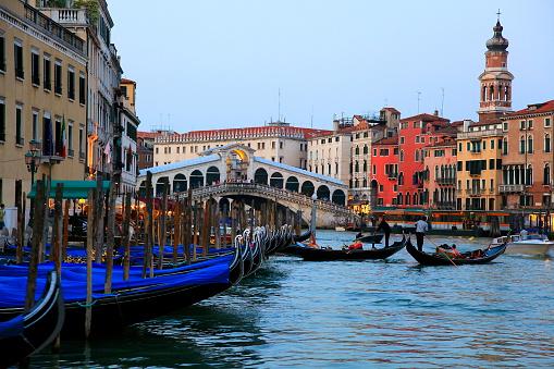 Venetian Gondolas - Grand Canal, Rialto at sunset, Venice, Italy