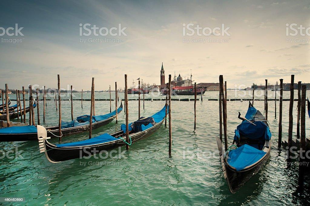 Venetian gondolas stock photo