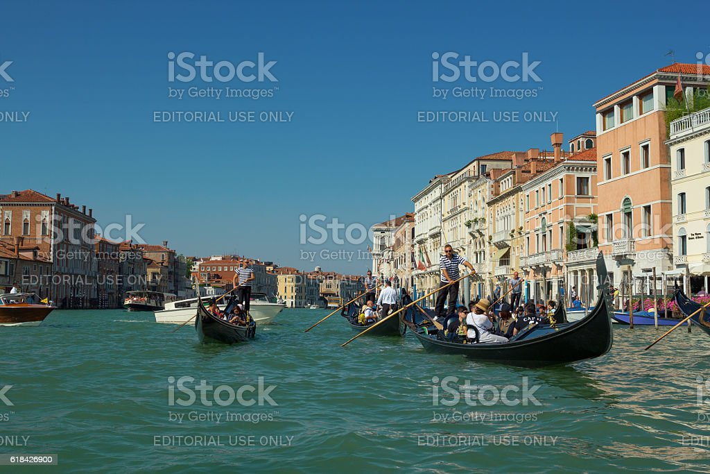Venetian gondoliers at work stock photo