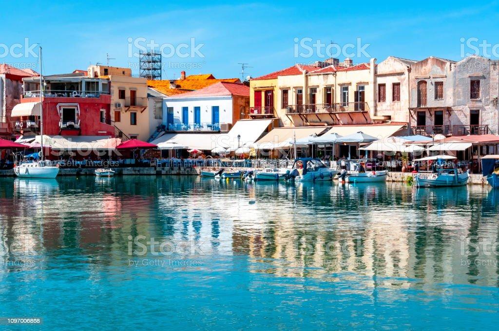 Venezianischen Hafen von Rethymnon, Kreta, Griechenland - Lizenzfrei Alt Stock-Foto