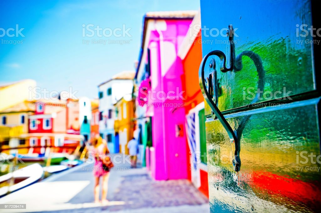 Venetian houses in the background in Burano, Venice. stock photo