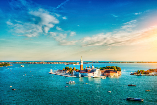 Venetian Lagoon with Ships and San Giorgio Maggiore at Sunset