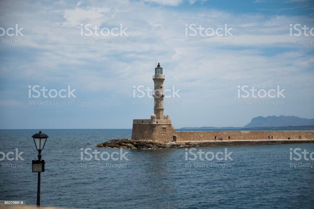 Venetian Lighthouse of Chania stock photo