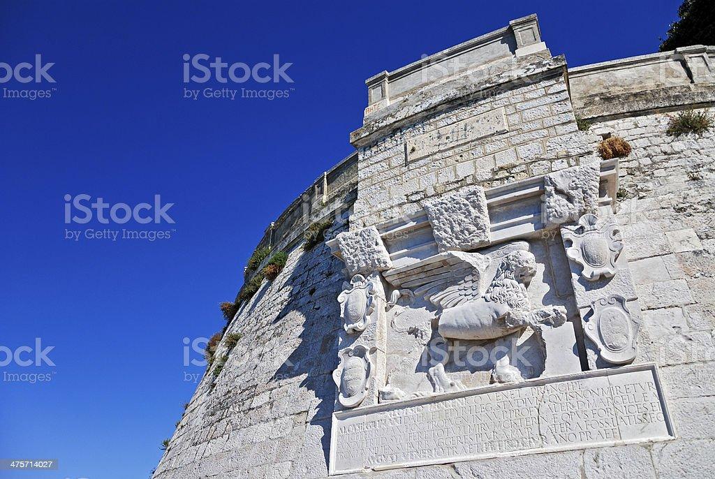 Venetian lion on the bastion of Zadar stock photo