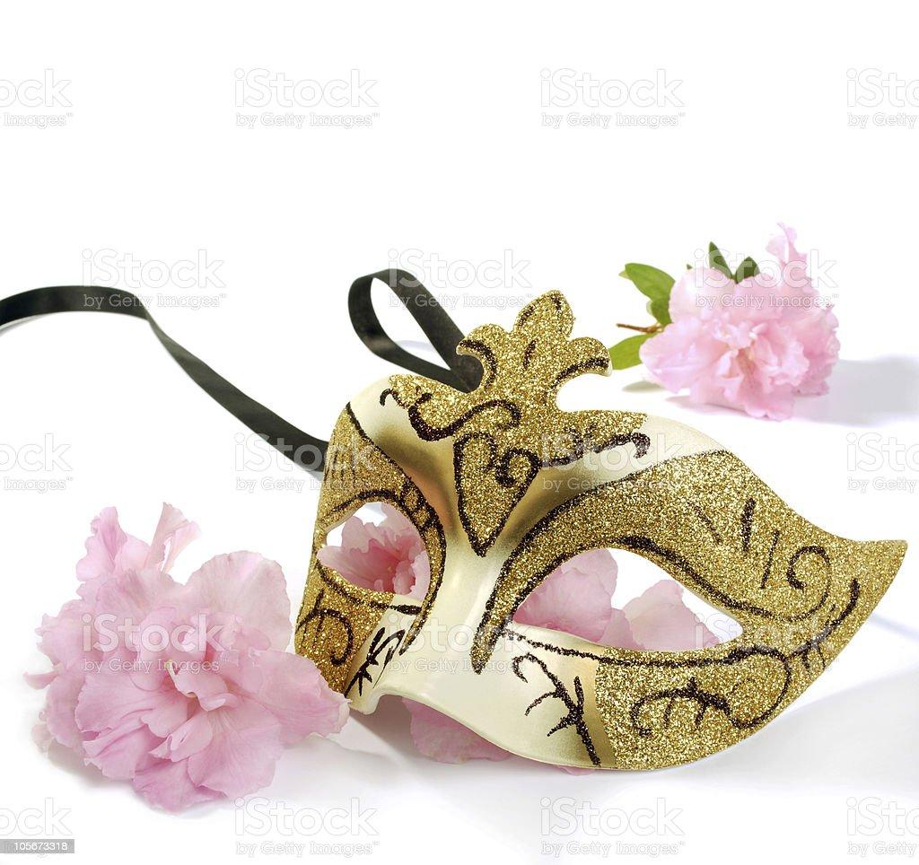 Venetian Mask And Blossoms Azalea stock photo