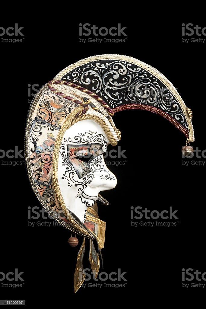 Venetian Mask Jester, Mardi Gras, Carnivale, Isolated on Black stock photo