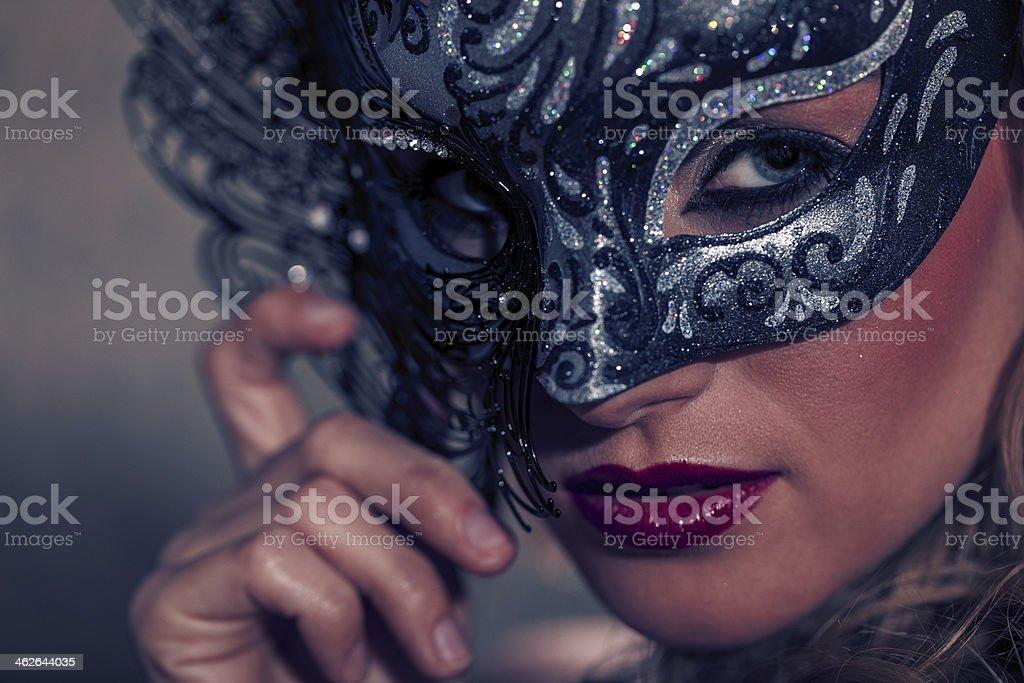 Venetian Masked Blonde stock photo