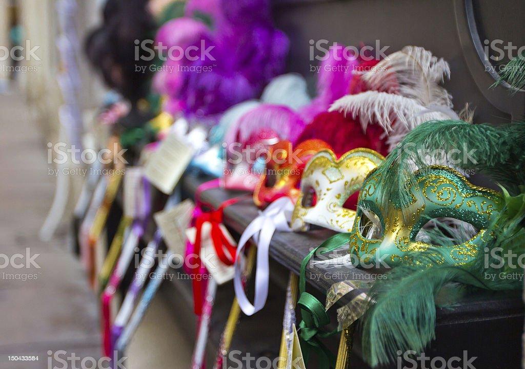 Venetian Masks in a Row stock photo