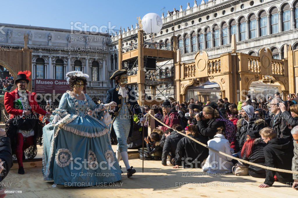 Venetian masks parading at Costume Contest during Venice Carnival, Italy - Royalty-free Carnival - Celebration Event Stock Photo