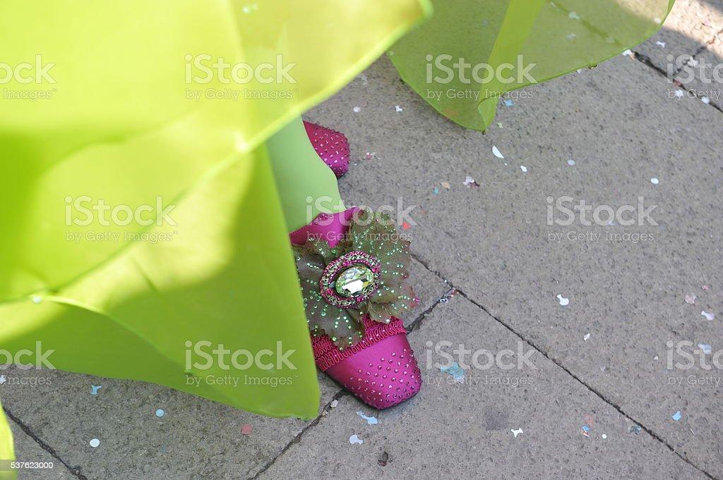 Venetian people shoes in festival at Venezia. stock photo