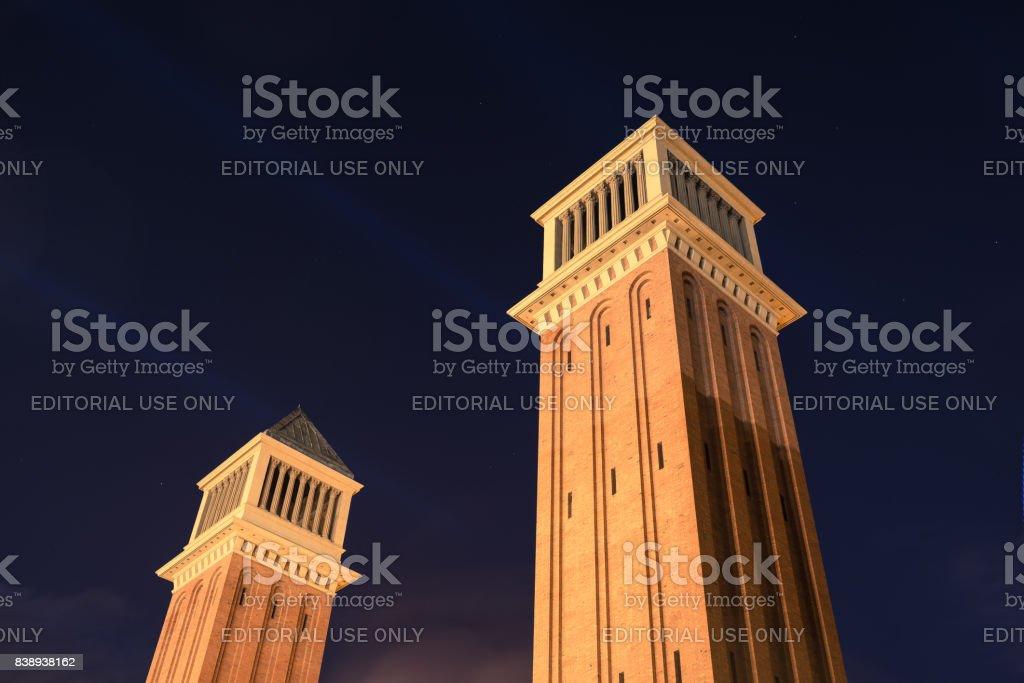 Venetian Towers alias Torres Venecianes in Barcelona stock photo