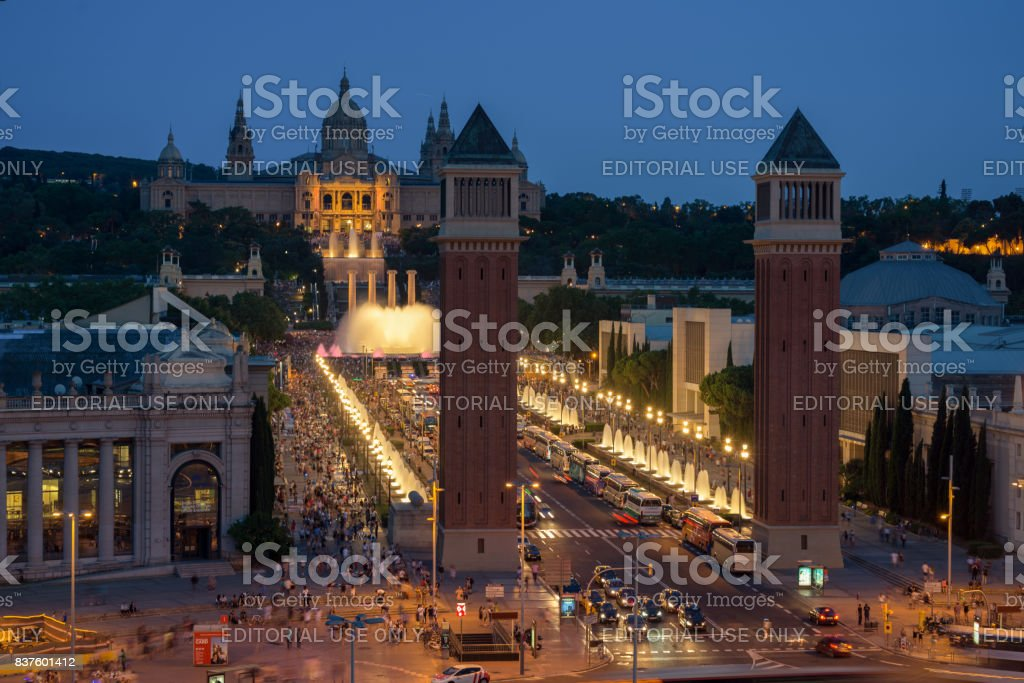 Venetian Towers and National Palace in Barcelona stock photo