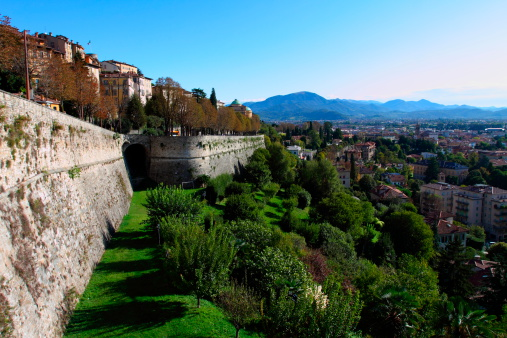 Venetian wall in Upper city - Bergamo, Italy