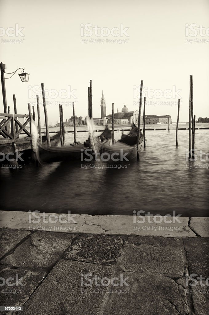 Venetian wharf with moon royalty-free stock photo