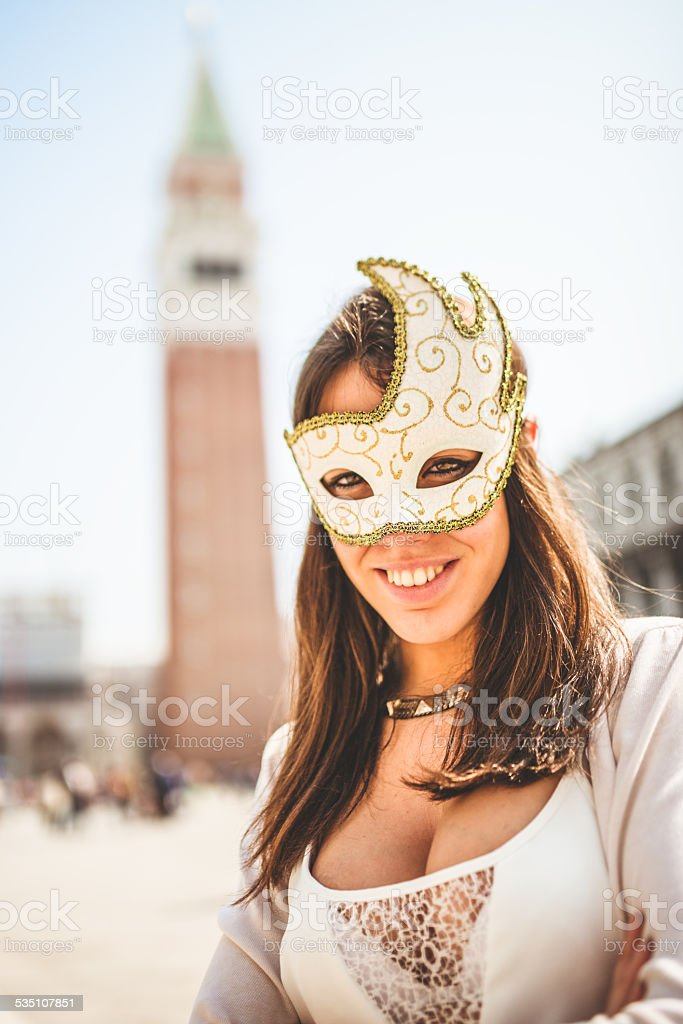 venetian woman for carnival in venice stock photo