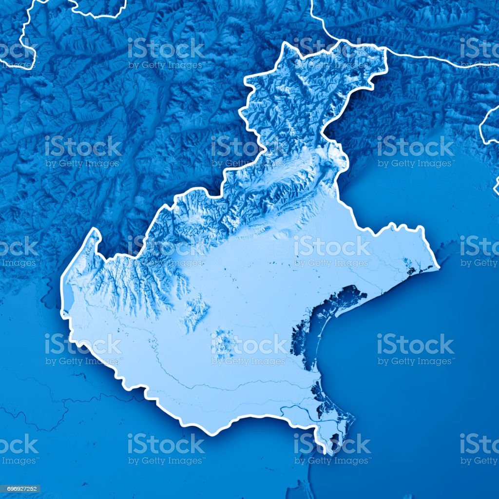 Topographic Map Italy.Veneto State Italy 3d Render Topographic Map Blue Border Stock Photo