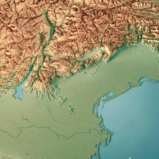veneto staat italien 3d-render topographische karte - venezien stock-fotos und bilder