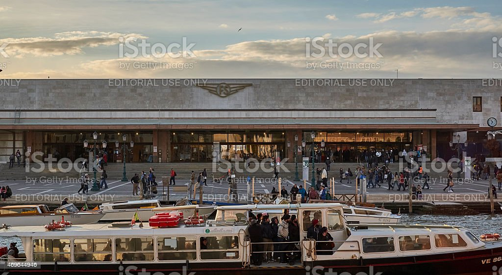 Venezia - railways and ferries stock photo