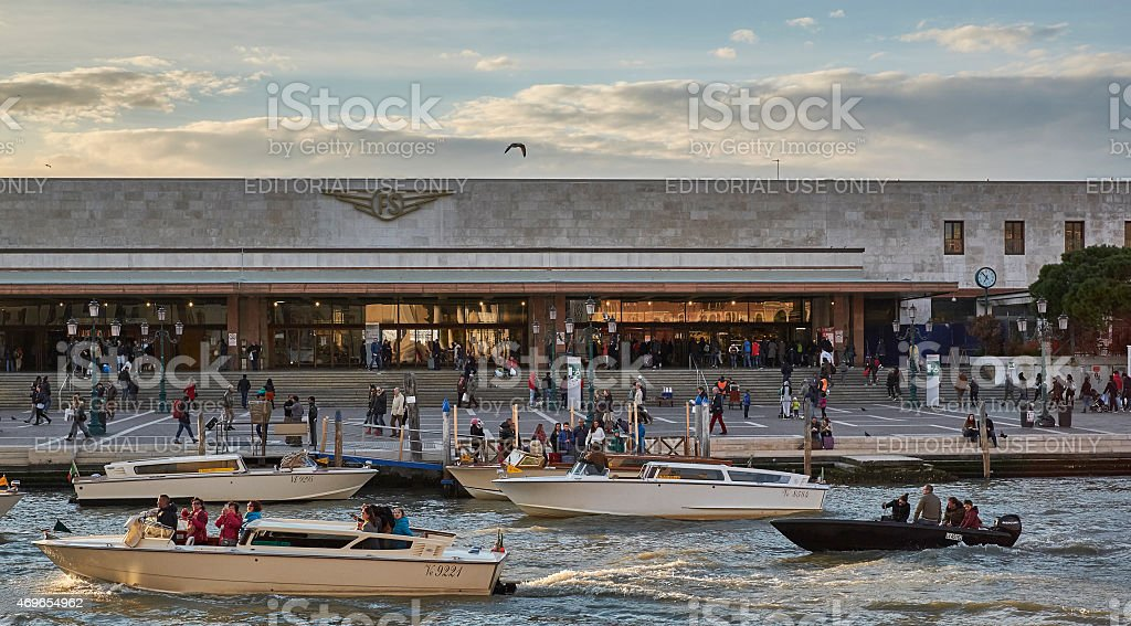 Venezia - the railway station, crowded with travellers stock photo