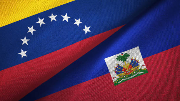 Venezuela and Haiti two flags textile cloth, fabric texture Venezuela and Haiti two folded flags together Haiti Flag stock pictures, royalty-free photos & images