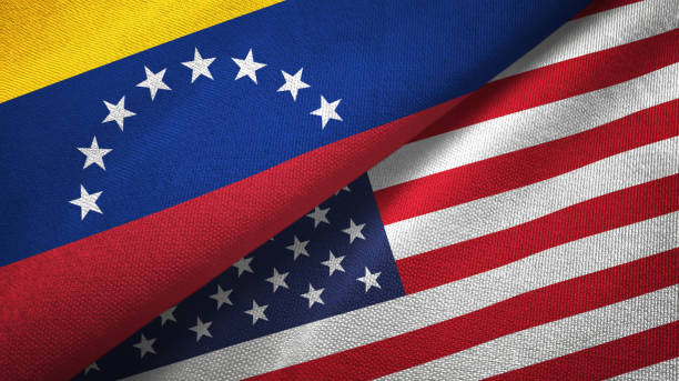 venezuela and united states two flags textile cloth, fabric texture - venezuelan flag stock photos and pictures