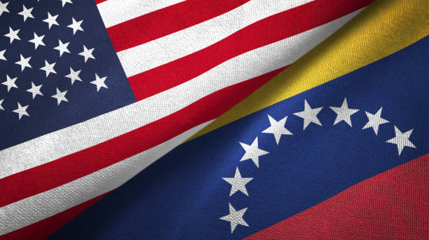 venezuela and united states two flags together realations textile cloth fabric texture - venezuelan flag stock photos and pictures