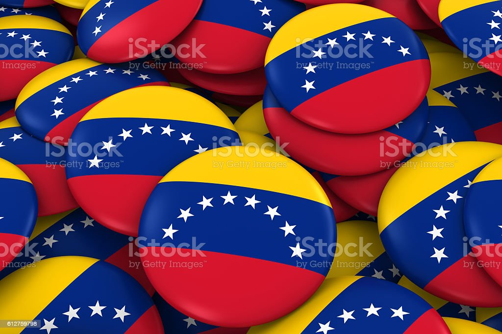 Venezuela Badges Background - Pile of Venezuelan Flag Buttons stock photo