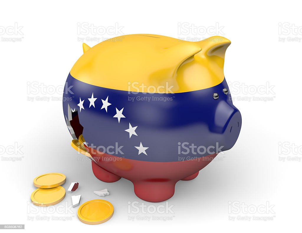 Venezuela economy and finance concept for poverty and national debt stock photo