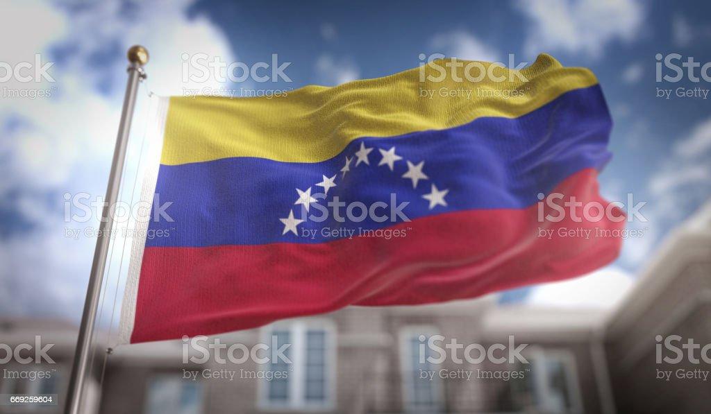 Venezuela Flag 3D Rendering on Blue Sky Building Background stock photo
