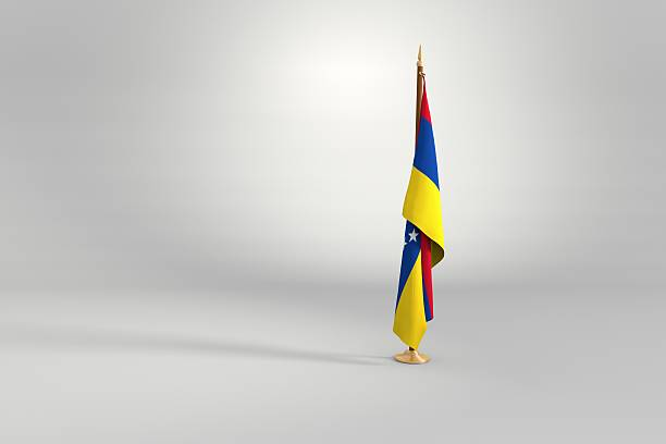 venezuela flag on mast 3d illustration - venezuelan flag stock photos and pictures