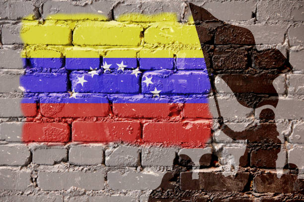 Venezuela flag on wall – zdjęcie