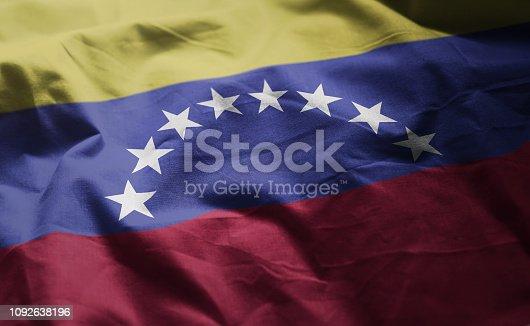 Venezuela Flag Rumpled Close Up
