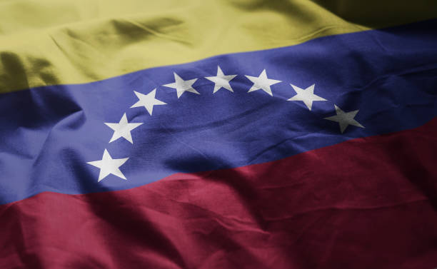venezuela flag rumpled close up - venezuelan flag stock photos and pictures