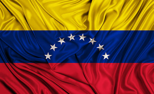 venezuela flag - silk texture - venezuelan flag stock photos and pictures