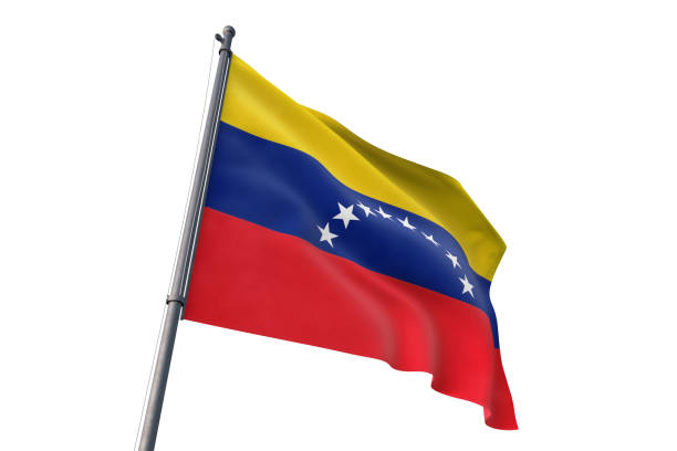 venezuela flag waving isolated white background - venezuelan flag stock photos and pictures