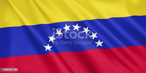 1056280906 istock photo Venezuela flag waving with the wind, wide format, 3D illustration. 3D rendering. 1056281784