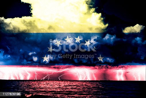 Conflict between USA and Venezuela, conceptuall image witth a sea thunderstorm and the flag of venezuela a, ongoing conflic betwenne the two country