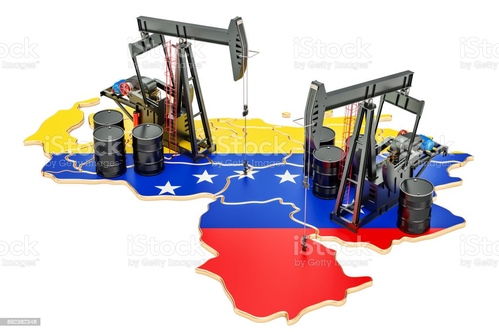Venezuela map with oil barrels and pumpjacks. Oil production concept. 3D rendering stock photo