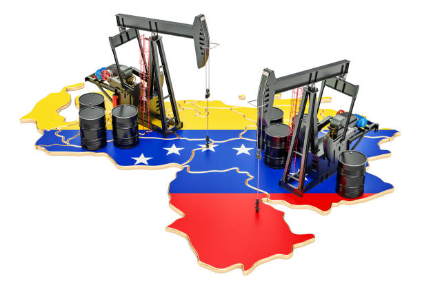 venezuela map with oil barrels and pumpjacks. oil production concept. 3d rendering - venezuela stock photos and pictures