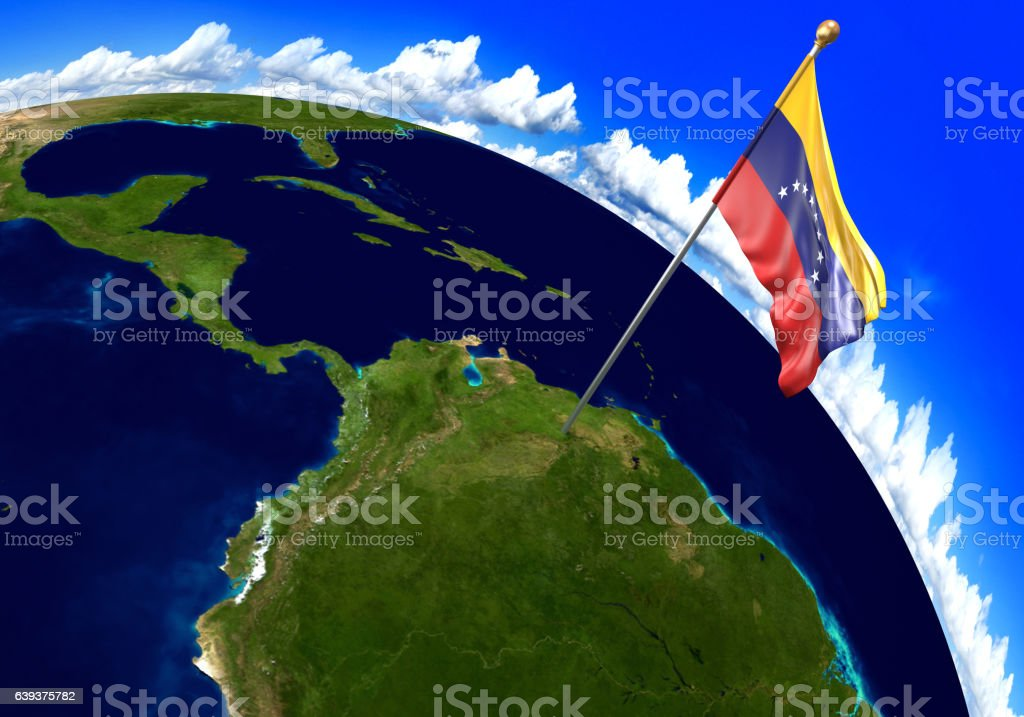 Venezuela National Flag Marking The Country Location On World Map