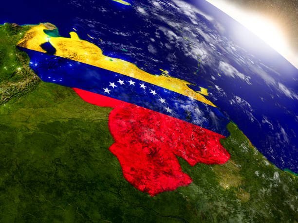 venezuela with flag in rising sun - venezuela stock photos and pictures