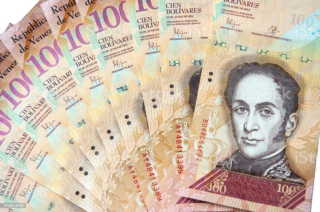 Venezuelan bolivares bank note isolated on white background stock photo