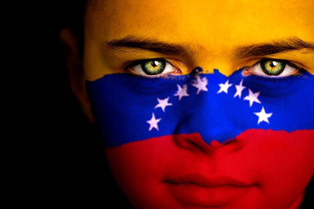 venezuelan boy - venezuelan flag stock photos and pictures