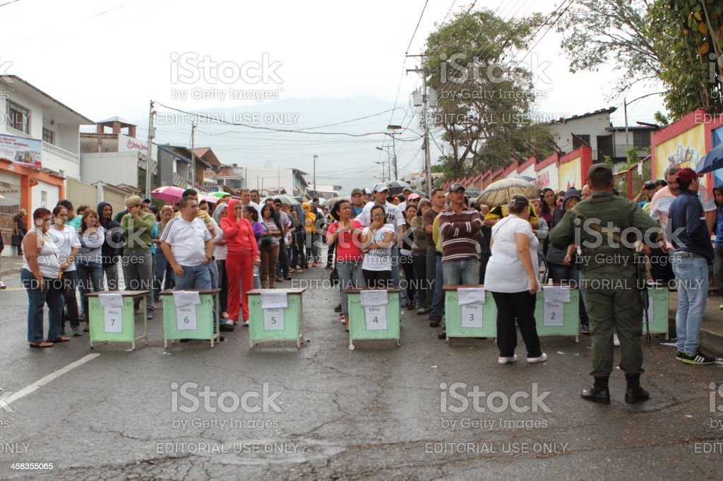 Venezuelan Citizens Waiting in Line to Vote forPresidential Elections 2013 stock photo