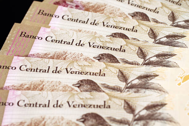 venezuelan currency close up - venezuela stock photos and pictures