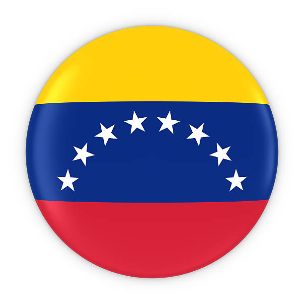 venezuelan flag button - flag of venezuela badge 3d illustration - venezuelan flag stock photos and pictures